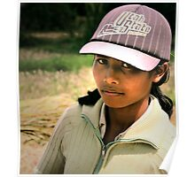Balinese Girl in a Baseball Hat Poster
