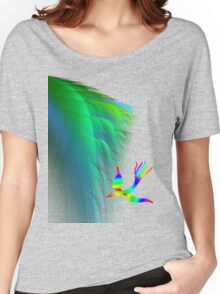 Rainbow bird fly in cliff Women's Relaxed Fit T-Shirt