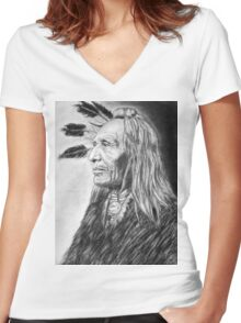 American Indian  Women's Fitted V-Neck T-Shirt