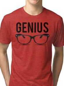 Genius Geek Glasses Nerd Smart Tri-blend T-Shirt