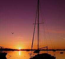 Boat at dusk by garry stokoe