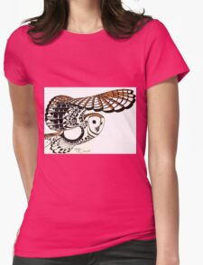 Ollie: A young barn owl Womens Fitted T-Shirt