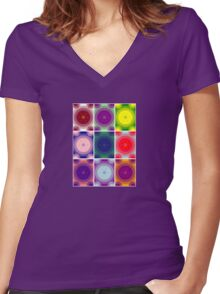 Psychedelic Circles Women's Fitted V-Neck T-Shirt