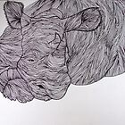 Sleepy Rhino (Lines Series) by Katie Grubb