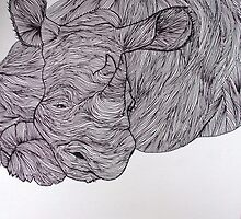 Sleepy Rhino (Lines Series) by kate conway