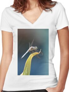 Dashing Blue Dasher Dragonfly Women's Fitted V-Neck T-Shirt