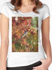 Blue Bird Enjoying Fall Color Women's Fitted Scoop T-Shirt
