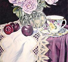Blue Moon with plums by Ann Nightingale
