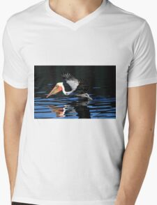 Brown Pelican Water Take Off Mens V-Neck T-Shirt