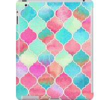 Watercolor Moroccan Patchwork in Magenta, Peach & Aqua iPad Case/Skin