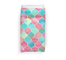 Watercolor Moroccan Patchwork in Magenta, Peach & Aqua Duvet Cover