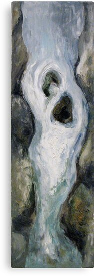 Narrow waterfall with two stones by Stella  Shube As