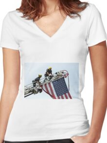 Let The USA Flag Fly Women's Fitted V-Neck T-Shirt