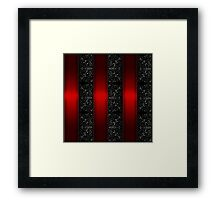 Red Stripes and Silver Vines on Black Framed Print