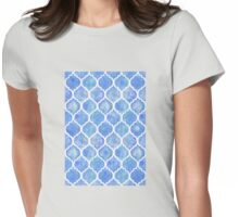 Cornflower Blue Moroccan Watercolor Pattern Womens Fitted T-Shirt