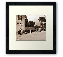 Bikes at no name saloon Framed Print