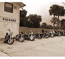 Bikes at no name saloon Photographic Print