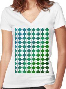sdd Pattern 3K blue green tones Women's Fitted V-Neck T-Shirt