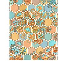Golden Honeycomb Tangle - hexagon doodle in peach, blue, mint & cream Photographic Print