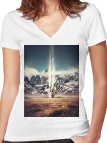 Struck By Gravity Women's Fitted V-Neck T-Shirt