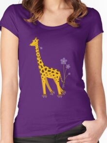Purple Cartoon Funny Giraffe Roller Skating Women's Fitted Scoop T-Shirt