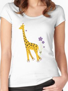 Purple Cartoon Funny Giraffe Roller Skating Women's Fitted Scoop T-Shirt