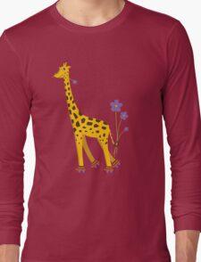 Purple Cartoon Funny Giraffe Roller Skating Long Sleeve T-Shirt
