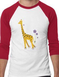 Purple Cartoon Funny Giraffe Roller Skating Men's Baseball ¾ T-Shirt