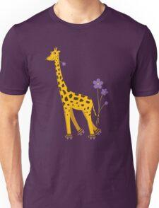 Purple Cartoon Funny Giraffe Roller Skating Unisex T-Shirt
