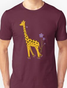 Purple Cartoon Funny Giraffe Roller Skating Unisex T-Shirt