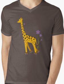 Purple Cartoon Funny Giraffe Roller Skating Mens V-Neck T-Shirt