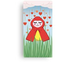 Happy Heart Rain Girl Canvas Print