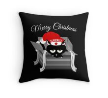 Naughty Cat Merry Christmas Throw Pillow