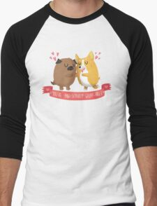 Paw-sitively Wuff-able Valentine's Day Card Men's Baseball ¾ T-Shirt
