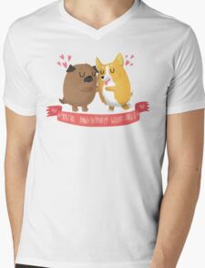 Paw-sitively Wuff-able Valentine's Day Card Mens V-Neck T-Shirt