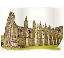 Outer side view of Holyrood abbey, Edinburgh. Poster