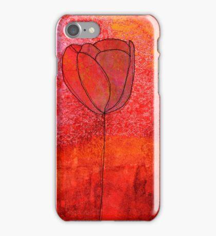 Single Tulip in Red iPhone Case/Skin
