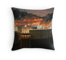 dam at night Throw Pillow