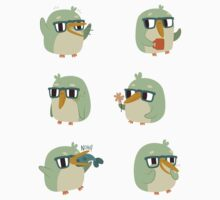 Cute Green Penguin Character by Claire Stamper