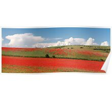 Red hills, rising clouds Poster
