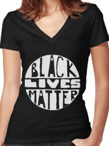 Black Lives Matter - Filled Black Background Women's Fitted V-Neck T-Shirt