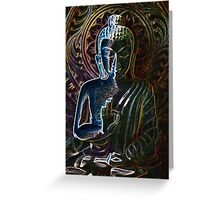 Wooden Carving of Buddha - 3 Greeting Card