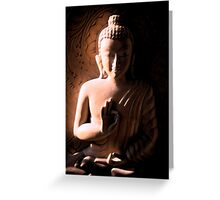 Wooden Carving of Buddha - 4 Greeting Card