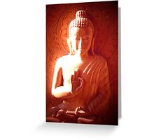 Wooden Carving of Buddha - 5 Greeting Card