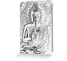 Wooden Carving of  Buddha - 7 Greeting Card