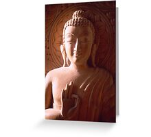 Wooden Carving of Buddha - 9 Greeting Card