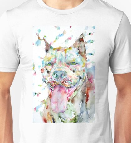 WATERCOLOR PIT BULL Unisex T-Shirt