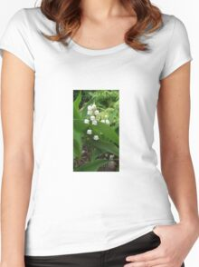 White Bells Among Lush Green Leaves Women's Fitted Scoop T-Shirt