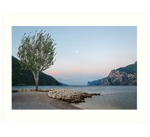 Lake Garda (Italy) and moon, early morning Art Print