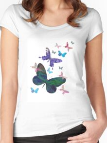butterfly design Women's Fitted Scoop T-Shirt